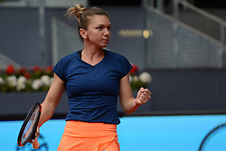 May 11, 2017 - Madrid, Spain - SIMONA HALEP of Romania in her quarterfinal match v. C. Vandeweghe in the Mutua Madrd Open tennis tournament. (Credit Image: © Christopher Levy via ZUMA Wire)
