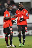 Fotball<br /> Frankrike<br /> Foto: DPPI/Digitalsport<br /> NORWAY ONLY<br /> <br /> FOOTBALL - FOOT - FRENCH CUP - 2009/2010 - 100109 - RENNES v CAEN<br /> <br /> CELEBRATION  ISMAEL BANGOURA  AND ALEXANDER TETTEY AFTER WIN THE GAME