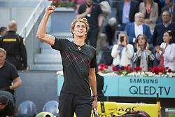 May 13, 2018 - Madrid, Madrid, Spain - ALEXANDER ZVEREV celebrates his victory after a final match against DOMINIC THIEM during the Mutua Madrid Open 2018 - ATP in Madrid. ALEXANDER ZVEREV won the match 6-4 6-4. (Credit Image: © Patricia Rodrigues via ZUMA Wire)