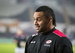 Saracens' Billy Vunipola during the pre match warm up<br /> <br /> Photographer Simon King/Replay Images<br /> <br /> European Rugby Champions Cup Round 5 - Ospreys v Saracens - Saturday 13th January 2018 - Liberty Stadium - Swansea<br /> <br /> World Copyright © Replay Images . All rights reserved. info@replayimages.co.uk - http://replayimages.co.uk