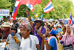© Licensed to London News Pictures. 16/05/2014. PDRC protestors cheer and blow whistles during a rally outside Parliament in Bangkok Thailand where key senators were holding a meeting on May 16, 2014.  Photo credit : Asanka Brendon Ratnayake/LNP