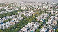 Aerial view of a residential neighbourhood in Rajender nagar, New Delhi, India.