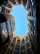 Looking up at some of Gaudi's architecture in Barcelona.