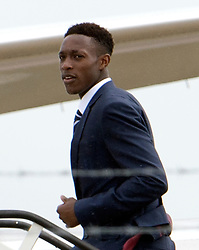© London News Pictures. 06/06/2012. Luton, UK.  England and Manchester United striker Danny Welbeck boarding a plane at Luton Airport in Bedfordshire on June 6, 2012 to head to Poland for the Euro 2012 football tournament. The squads training camp is based in Krakow.  Photo credit: Ben Cawthra/LNP