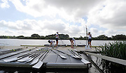 Caversham Reading. UK.  GBR W4X waiting to  remove their boat from the water. GBR Blades and Oars. resting on the Boating Dock . GB Rowing 2011 World Cup team announcement,  Redgrave and Pinsent Lake.Tuesday  10/05/2011 [Mandatory Credit; Peter Spurrier/Intersport-images]