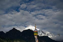 THEMENBILD - Trekkingtour in Nepal um die Annapurna Gebirgskette im Himalaya Gebirge. Das Bild wurde im Zuge einer 210 Kilometer langen Wanderung im Annapurna Gebiet zwischen 01. September 2012 und 15. September 2012 aufgenommen. im Bild Annapurna II (7937 m) von Chame aus // THEME IMAGE FEATURE - Trekking in Nepal around Annapurna massif at himalaya mountain range. The image was taken between september 1. 2012 and september 15. 2012. Picture shows Annapurna II (7937 m), photgraphed in Chame, NEP, EXPA Pictures © 2012, PhotoCredit: EXPA/ M. Gruber