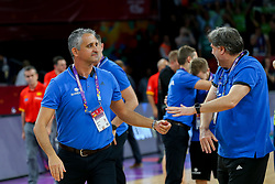 Igor Kokoskov, coach of Slovenia and Branko Cveticanin, dr. med. celebrate after winning during basketball match between National Teams of Slovenia and Spain at Day 15 in Semifinal of the FIBA EuroBasket 2017 at Sinan Erdem Dome in Istanbul, Turkey on September 14, 2017. Photo by Vid Ponikvar / Sportida