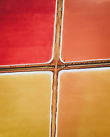 Aerial View of Red and Orange Salt Marshes near Cadiz, Spain