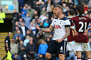 Toby Alderweireld of Tottenham Hotspur celebrates after his team score the 1st goal. Premier League match, Burnley v Tottenham Hotspur at Turf Moor in Burnley , Lancs on Saturday 1st April 2017.<br /> pic by Chris Stading, Andrew Orchard sports photography.