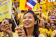 05 DECEMBER 2012 - BANGKOK, THAILAND:  A Thai woman waves the royal flag on the Royal Plaza Wednesday while she waits to see Bhumibol Adulyadej, the King of Thailand, before his public audience at the Mukkhadej balcony of the Ananta Samakhom Throne Hall. December 5 is a national holiday. It's also celebrated as Father's Day. Celebrations are being held across the country to mark the birthday of Bhumibol Adulyadej, the King of Thailand.   PHOTO BY JACK KURTZ