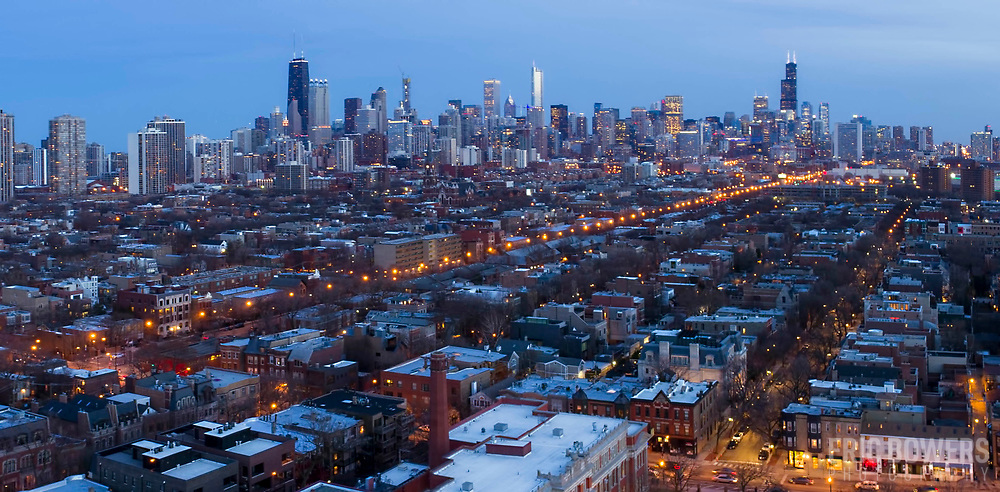 Chicago north side aerial view from above Oz Park in the Lincoln Park neighborhood, Chicago, Illinois.