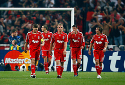 Athens, Greece - Wednesday, May 23, 2007: Liverpool's Steven Gerrard, Dirk Kuyt, Jamie Carragher and Boudewijn Zenden look dejected after AC Milan scores the opening goal during the UEFA Champions League Final at the OACA Spyro Louis Olympic Stadium. (Pic by David Rawcliffe/Propaganda)
