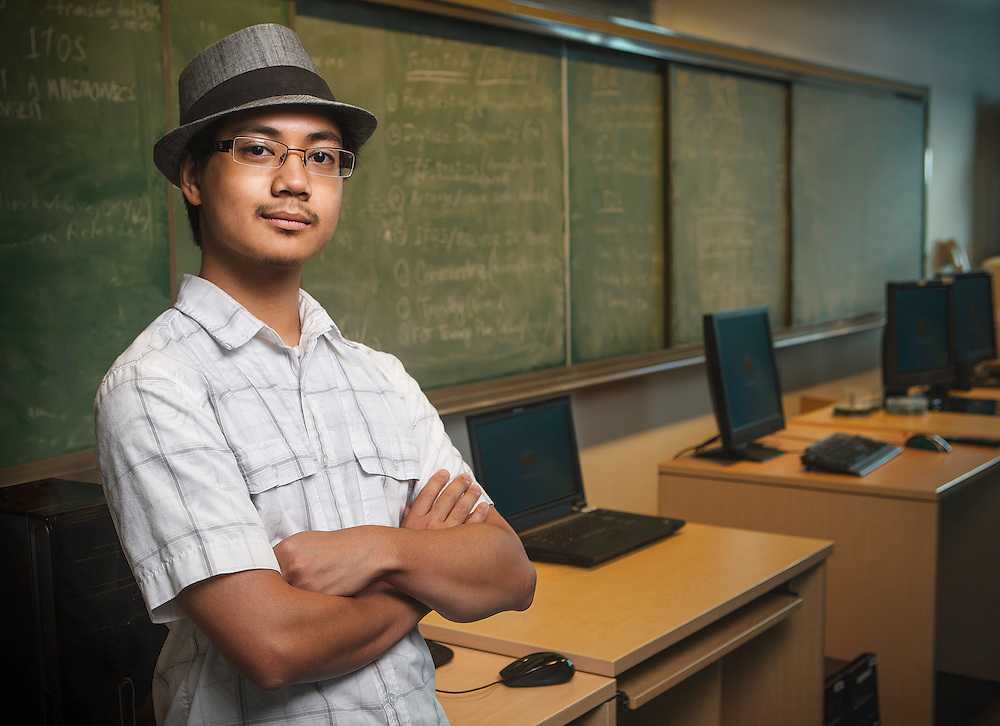 Student in  technology classroom at Capitol College in Maryland