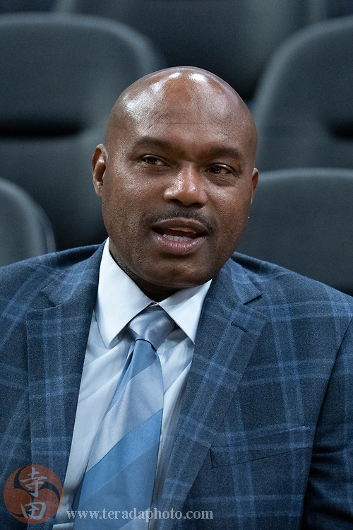 February 23, 2020; San Francisco, California, USA; Golden State Warriors great Tim Hardaway before the game against the New Orleans Pelicans at Chase Center.