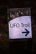 A753WE UFO trail direction marker sign Rendlesham Forest Suffolk England