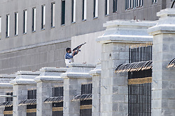 Jun 7, 2017 - Tehran, Iran - Iranian police officers conduct an operation against the attacker in the parliament building after gunmen opened fire at Iran's parliament and the shrine of Ayatollah Khomeini in the capital Tehran, Iran. The terrorist militia ISIS claimed responsibility for the attacks. (Credit Image: © Erfan Kouchari/Tasnim/IranImages via ZUMA Wire)