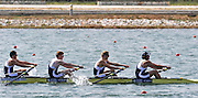 Marathon, GREECE,  GBR M4-   Bow George LAUGHTON, William LAUGHTON, Peter MARSLAND and Tom RANSLEY, repechage, at the FISA European Rowing Championships.  Lake Schinias Rowing Course, FRI 19.09.2008  [Mandatory Credit Peter Spurrier/ Intersport Images] , Rowing Course; Lake Schinias Olympic Rowing Course. GREECE