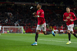 Marcus Rashford of Manchester United celebrates scoring his sides first goal - Mandatory by-line: Jack Phillips/JMP - 18/12/2019 - FOOTBALL - Old Trafford - Manchester, England - Manchester United v Colchester United - English League Cup Quarter Final