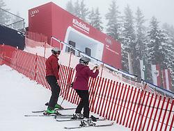 22.01.2014, Sporthotel Reisch, Kitzbuehel, AUT, FIS Ski Weltcup, Weisswurstfruehstueck, Alpenralley 2014, im Bild der Zweite Trainingslauf zur Herrenabfahrt aufgrund der Wettersituation abgesagt. Starthaus in Kitzbuehel // Starthouse in Kitzbuehel. The second practice run of the mens downhill was canceled due to weather conditions during the Kitzbuehel FIS Ski Alpine World Cup at the Streif course in Kitzbuehel, Austria on 2014/01/22. EXPA Pictures © 2014, PhotoCredit: EXPA/ Johann Groder
