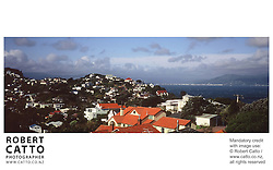 A panoramic view from Seatoun Heights at Seatoun Heights, Wellington, New Zealand.<br />