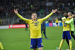 November 13, 2017 - Milan, Italy - 10 Emil Forsberg, Sweden team celebrates at the end of the FIFA World Cup 2018 qualification football match between Italy and Sweden, on November 13, 2017 at the San Siro stadium in Milan.Italy failed to reach the World Cup for the first time since 1958 on Monday as they were held to a 0-0 draw in the second leg of their play-off at the San Siro by Sweden, who qualified with a 1-0 aggregate victory (Credit Image: © Aftonbladet/IBL via ZUMA Wire)