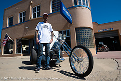 Custom bike builder and event organizer JP Rodman with his custom Harley-Davidson Panhead trike during his Run to Raton. Raton, NM. USA. Sunday July 22, 2018. Photography ©2018 Michael Lichter.