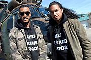 Vertrek van de ambassadeurs van de Vrijheid vanaf vliegbasis Gilze Rijen . De Ambassadeurs van de Vrijheid zullen dankzij de inzet van Defensie optreden op de veertien Bevrijdingsfestivals. <br /> <br /> OP de foto / On the photo:  DJ-duo Sunnery James & Ryan Marciano voor de helikopter