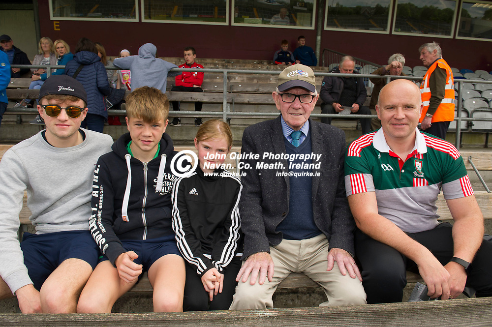 01-06-19. Meath v Westmeath - Electric Ireland Leinster MFC Quarter-Final at Cusack Park, Mullingar.<br /> Meath supporters L to R: Cian Harford, Josh Harford, Lilly-May Donnelly, Tommy Mahon and David Harford, Kilbride.<br /> Photo: John Quirke / www.quirke.ie<br /> ©John Quirke Photography, Unit 17, Blackcastle Shopping Cte. Navan. Co. Meath. 046-9079044 / 087-2579454.