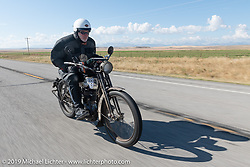 Dean Bordigioni with his single-cylinder single-speed 1914 Harley-Davidson on the Motorcycle Cannonball coast to coast vintage run. Stage 12 (242 miles) from Great Falls to Kalispell, MT. Thursday September 20, 2018. Photography ©2018 Michael Lichter.