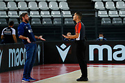 Pozzecco Gianmarco Arbitro Dario Morelli<br /> Virtus Roma - Banco di Sardegna Sassari<br /> Legabasket Campionato Serie A 2020/2021<br /> Roma, 11/10/2020<br /> Foto A. De Lise/Ciamillo-Castoria