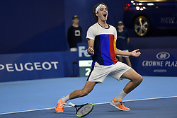 October 20, 2017 - Antwerp , Belgium - STEFANOS TSITSIPAS celebrates after defeating top seed D. Goffin at the European Open to advance to his first semi-final. He borrowed his father's laces and went on to defeat Goffin, 2-6, 7-6(1), 7-6(4).  (Credit Image: © Panoramic via ZUMA Press)