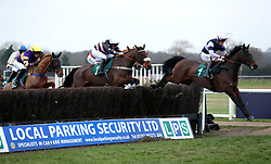 Brandon Hill ridden by Noel George (right) competes in the Overbury Stud Willoughby De Broke Open Hunters' Chase during Midlands Raceday at Warwick Racecourse.
