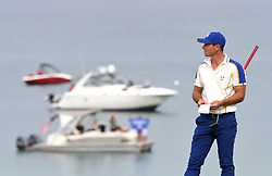 Team Europe's Viktor Hovland reacts to a shot on the 17th green during day three of the 43rd Ryder Cup at Whistling Straits, Wisconsin. Picture date: Sunday September 26, 2021.