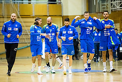 Kastelec Urh, Bombac Dejan, Kavticnik Vid, Janc Blaz, Blagotinsek Blaz and Mackovsek Borut of Slovenia during friendly handball match between national teams Slovenia and Montenegro on 4th Januar, 2020, Trbovlje, Slovenia. Photo By Grega Valancic / Sportida