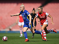 Football - 2021 / 2022 Women's Super League - Arsenal vs Chelsea - Emirates Stadium - Sunday 5th September 2021<br /> <br /> Chelsea FC Women's Bethany England holds off the challenge from Arsenal Women's Lia Walti.<br /> <br /> COLORSPORT/Ashley Western