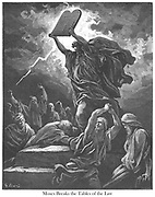 Moses Breaking the Tables of the Law Exodus 32:19 From the book 'Bible Gallery' Illustrated by Gustave Dore with Memoir of Dore and Descriptive Letter-press by Talbot W. Chambers D.D. Published by Cassell & Company Limited in London and simultaneously by Mame in Tours, France in 1866