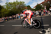 London, UK. Wednesday 1st August 2012. The Men's Individual Time Trial cycling event passes through Twickenham on route to find the fastest male cyclist. Rider Jakob Fuglsang of Denmark.