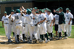 21 April 2007:  Ricky Angel get high five greetings from the whole dugout after smashing a homerun in the early part of the game. Carthage College loses the first game of a double header by a score of 5-2 against the Illinois Wesleyan Titans.