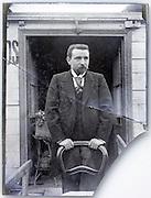 broken glass plate portrait of man standing Paris 1900s