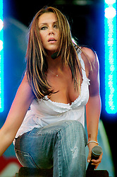 Liberty X the formed from the 5 who failed to make it into the Pop-idol Band Hear Say<br />  Michelle Heaton, Tony Lundon, Kevin Simm, Jessica Taylor and Kelli Young Play Party in the Park at Temple Newsome Leeds UK<br /> 17th July 2005<br /> <br /> Images Copyright Paul David Drabble <br /> All Rights Reserved