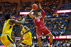 Feb 2, 2019; Morgantown, WV, USA; Oklahoma Sooners guard Miles Reynolds (3) shoots in the lane during the first half against the West Virginia Mountaineers at WVU Coliseum. Mandatory Credit: Ben Queen-USA TODAY Sports