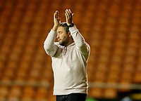 Football - 2021 / 2022 EFL Carabao Cup - Round Two - Blackpool vs. Sunderland -Bloomfield Road - Tuesday 24th August 2021<br /> <br /> Sunderland head coach Lee Johnson salutes the travelling support at the final whistle, at Bloomfield Road.<br /> <br /> COLORSPORT/Alan Martin