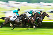 April 29, 2017, 22nd annual Queen's Cup Steeplechase. ROCKIN' BEN and Bernie Dalton race for the lead against RED MIST and Emma Clifton