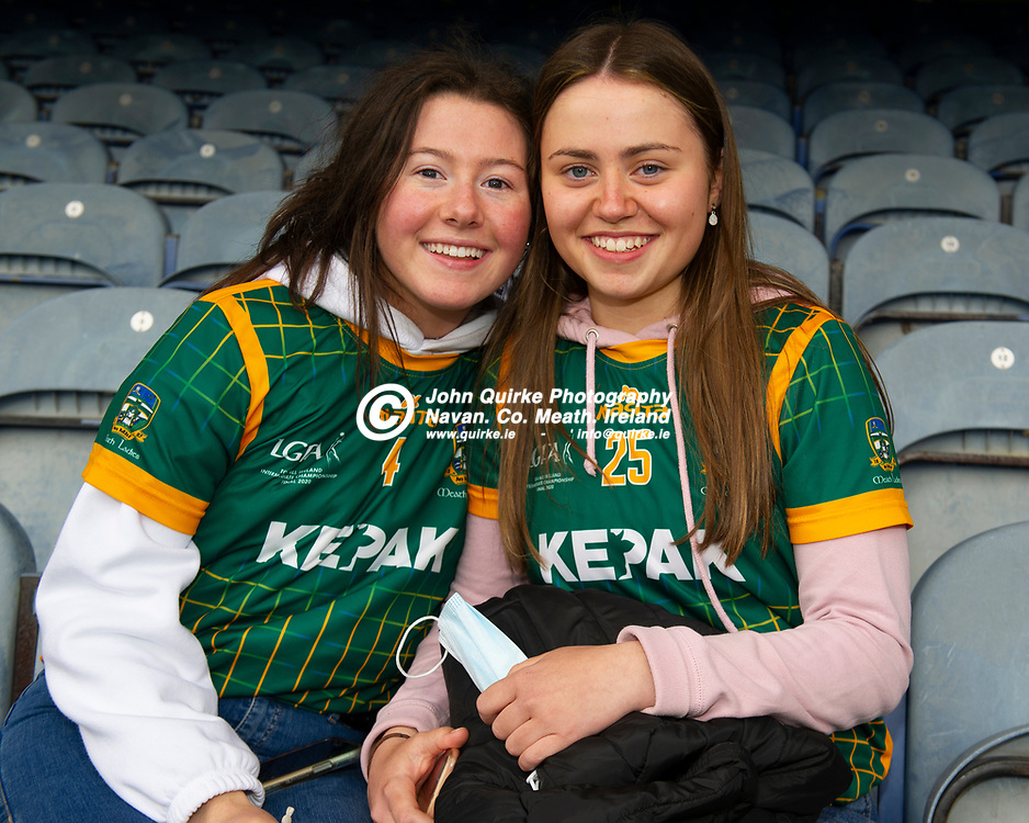26-06-21. Meath v Kerry - Lidl Ladies National Football League Division 2 Final at Croke Park Ellen Farrell (Left) and Niamh McGuinness from Navan were in Croke Park to support the Meath Ladies.<br /> Photo: John Quirke / www.quirke.ie<br /> ©John Quirke Photography, 16 Proudstown Road, Navan. Co. Meath. (info@quirke.ie / 046-9028461 / 087-2579454).