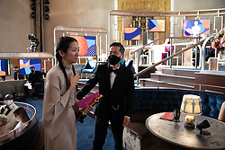 Chloé Zhao accepts the Oscar® for Directing during the live ABC Telecast of The 93rd Oscars® at Union Station in Los Angeles, CA, USA on Sunday, April 25, 2021. Photo by Richard Harbaugh/A.M.P.A.S. via ABACAPRESS.COM