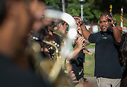 Austin High School band performs at a ceremony to rename Jackson Middle School to Navarro Middle School in honor of Yolanda Black Navarro, October 5, 2016.