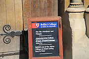 Balliol College welcome to visitors close up sign,  University of Oxford, England, UK
