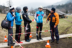 Andreas Goldberger, Markus Schiffner (AUT), Manuel Fettner (AUT) and  Michael Hayboeck (AUT) at Heliport prior to the Ski Flying Hill Men's Team Competition at Day 3 of FIS Ski Jumping World Cup Final 2017, on March 25, 2017 in Kranjska Gora, Slovenia. Photo by Vid Ponikvar / Sportida