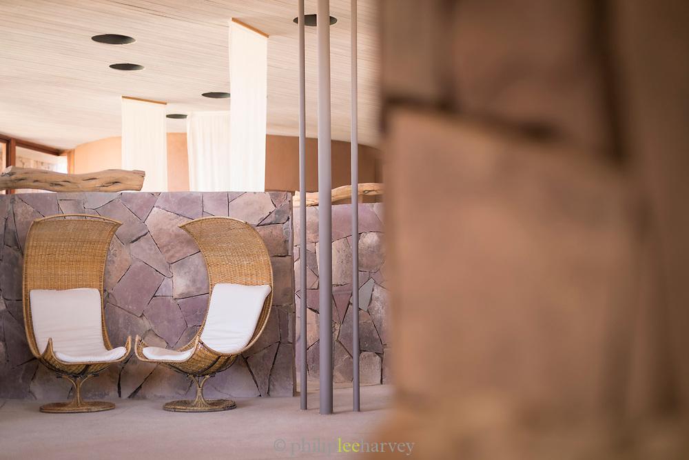 Two comfortable chairs in spa area of Tierra Atacama Hotel near Licanabur Volcano, San Pedro De Atacama, Chile