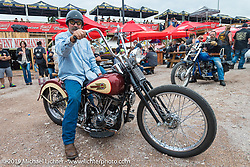 Stacy McCleary on his custom Panhead at the Wrench Magazine old school bike show at the Easyriders Saloon during the annual Sturgis Black Hills Motorcycle Rally. SD, USA. August 6, 2014.  Photography ©2014 Michael Lichter.